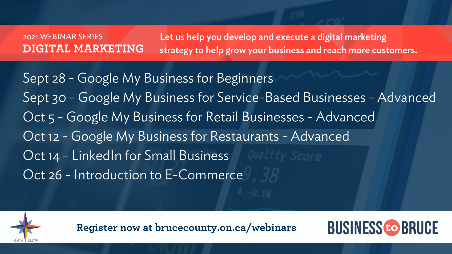 Business to Bruce Poster: Digital Marketing - Let us help you develop and execute a digital marketing strategy to help grow your business and reach more customers.