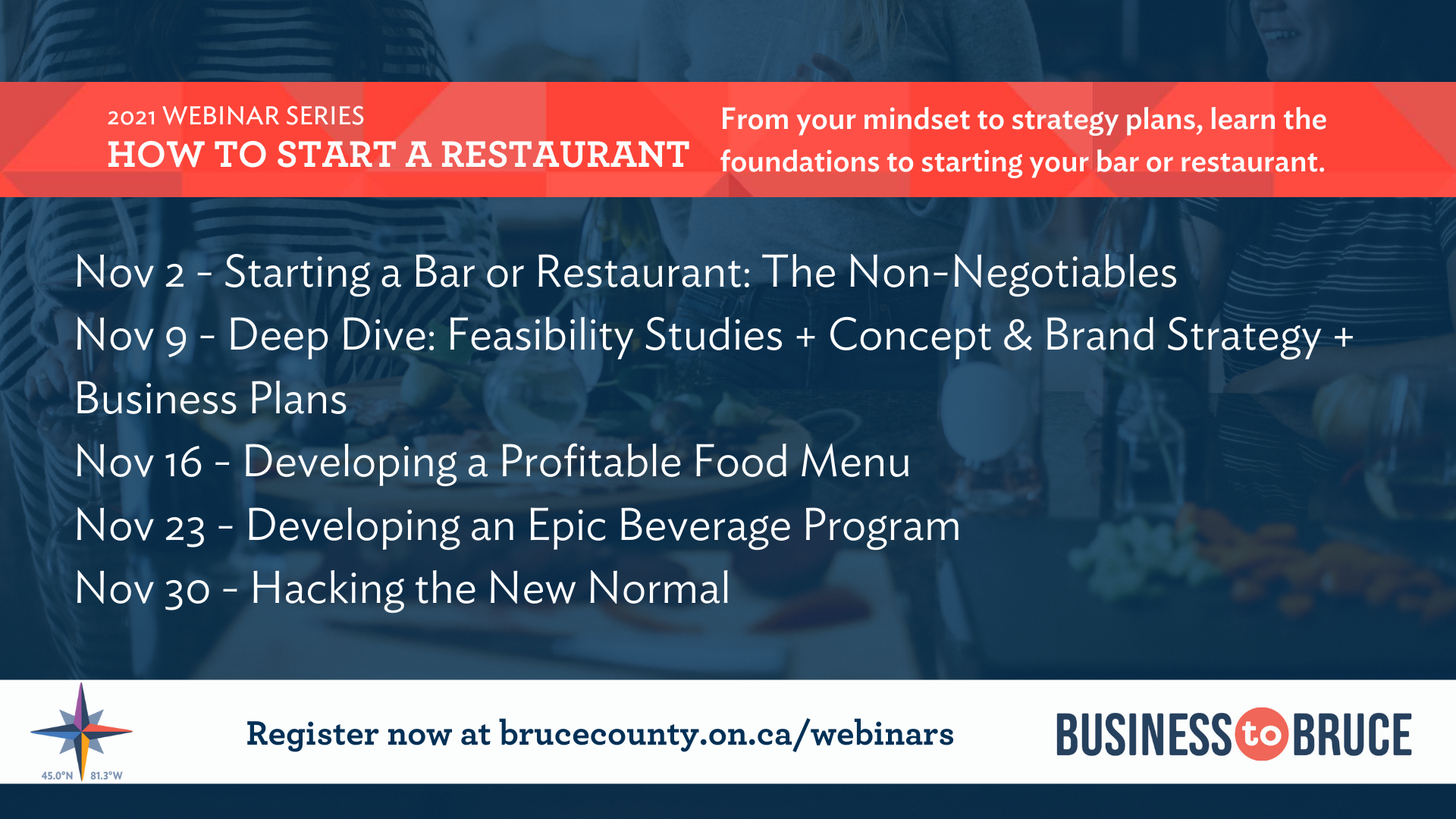 Business to Bruce Poster: The How to Start a Restaurant Series : From your mindset to strategy plans, learn the foundations to starting your bar or restaurant.
