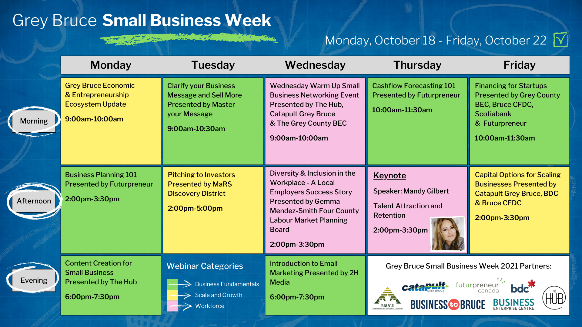 Visual Schedule of all small business week events. all event details are shared in the text below.