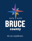 Bruce County logo with tagline on Blue Background