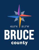 Bruce County on Blue Background