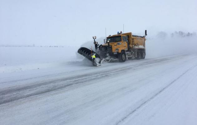 Snowplow on cuonty roads